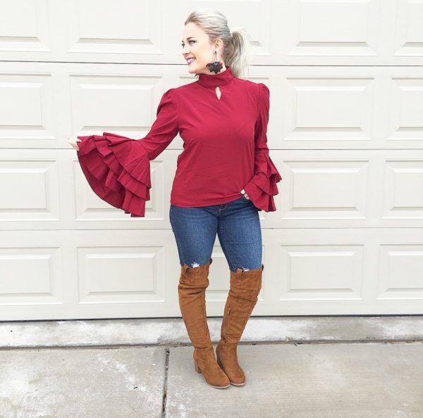 burgundy bell sleeves & otk boots