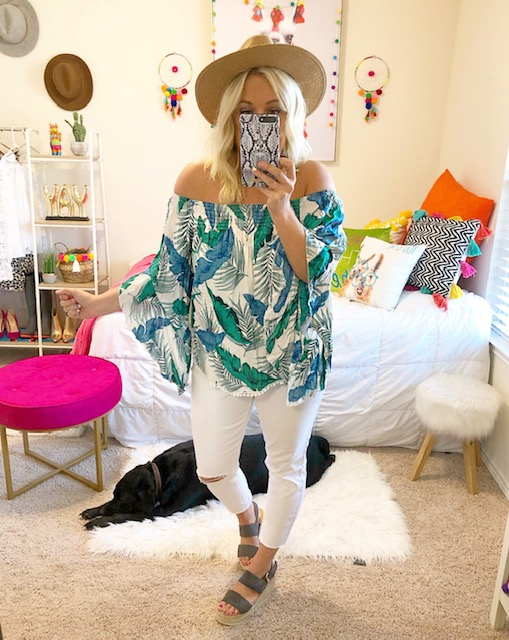 32751d9ded3 I am a sucker for anything with a summer print. This off the shoulder top  is so fun and very lightweight. So great for the hot summer days.